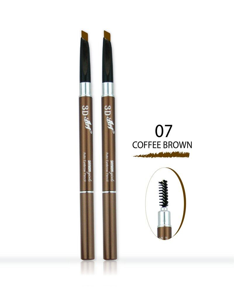 Saynow Girls 3D ART AUTO EYEBROW PENCIL ดินสอเขียนคิ้ว (0.3ml.) NO.07 COFFEE BROWN (2 ชิ้น)