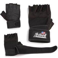 ซื้อ Schiek ถุงมือยกน้ำหนัก ถุงมือฟิตเนส ถุงมือหนัง Fitness Glove Black ถูก ไทย