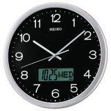 ราคา Seiko นาฬิกาแขวนขอบบอร์นเงินหน้าดำ 14 มีจอปฎิทิน Lcd รุ่น Qxl007A ใหม่