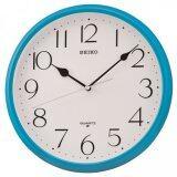 ซื้อ Seiko นาฬิกาแขวนผนัง ขอบพลาสติกสีฟ้า หน้าขาว รุ่น Qxa651L ถูก