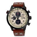 ขาย Seiko Prospex Solar Chronograph นาฬิกาข้อมือผู้ชาย สีดำ สีครีม สายหนังน้ำตาล รุ่น Ssc425P1 Thailand ถูก
