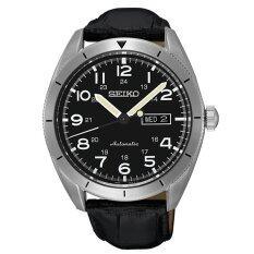 ราคา Seiko นาฬิกาข้อมือผู้ชาย Sports 5 Automatic สายหนังแท้ สีเงิน สีดำ รุ่น Srp715K1 Seiko เป็นต้นฉบับ