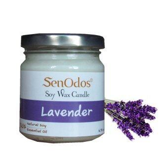 SenOdos เทียนหอม อโรม่า Lavender Scented Soy Candle Aroma 190 g. (กลิ่นลาเวนเดอร์)