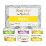 ราคา Senodos กลิ่นแห่งความสุข Emotional Scented Soy Candles Aroma Happy เทียนหอมอโรม่า ขนาดพกพา ขนาดทดลอง มะกรูด เจอร์เรเนียม เลมอน ส้ม มะลิ กระดังงา Senodos