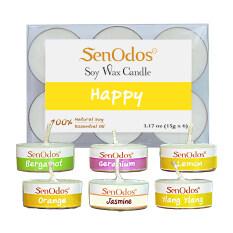 ราคา Senodos กลิ่นแห่งความสุข Emotional Scented Soy Candles Aroma Happy เทียนหอมอโรม่า ขนาดพกพา ขนาดทดลอง มะกรูด เจอร์เรเนียม เลมอน ส้ม มะลิ กระดังงา เป็นต้นฉบับ Senodos