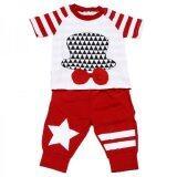 ซื้อ Set 2 ชิ้น เสื้อสีขาว แดงลายหมวก กางเกงสีแดงลายดาว ใหม่