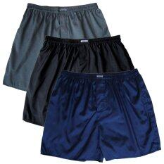 ทบทวน Set 3 ตัว กางเกงในชาย ไหมไทยผสมโพลียีสเตอร์ สีดำ น้ำเงิน เทา