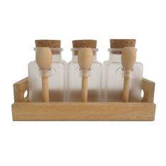 ขาย Set ขวดพลาสติกจุกก๊อกไม้พร้อมถาดไม้และช้อนไม้ในชุดสำหรับใส่กาแฟ 3 ชิ้น ใหม่