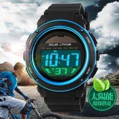 Skmein1096คนนาฬิกากันน้ำพลังงานแสงอาทิตย์ระบบดิจิตอลนาฬิกาข้อมือกีฬาทหารNmasculino สีน้ำเงิน ใหม่ล่าสุด