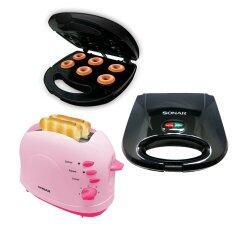 Sonar ชุดทำเบเกอรี่ เครื่องปิ้งขนมปัง Et 200S สีชมพู เครื่องทำโดนัท Dm 007 สีดำ เครื่องทำวาฟเฟิล Sm W030 สีดำ เป็นต้นฉบับ