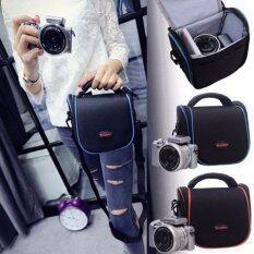 Soudelor BAG กระเป๋ากล้อง ดิจิตอล Digital / กล้อง Mirrorless รุ่น 1204S ( สี ดำ-ลายเส้นน้ำเงิน) (Black- Blue) (Blue)