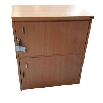 SPK Shop ตู้ล๊อกเกอร์ ตู้เก็บของ ชั้นไม้เอนกประสงค์ 2 ชั้น พร้อมบานเปิดปิดมีกุญแจ (สีลายไม้บีช)