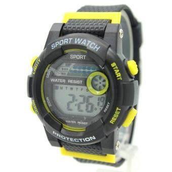 Sport Watch นาฬิกาข้อมือชาย-หญิงและเด็ก สายยางดำ คาดเหลือง ระบบ Digital SW-A03