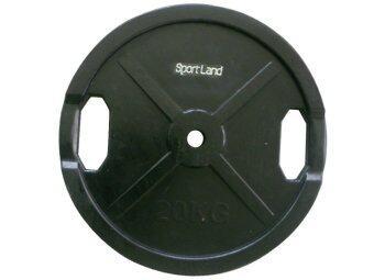 Sportland แผ่นน้ำหนัก หุ้มยางดำ บาร์เบล ดัมเบล Barbell Dumbbell Sl 20 Kg.