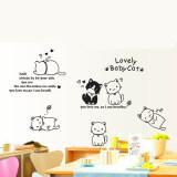 ส่วนลด สติ๊กเกอร์ติดผนัง ตกแต่งบ้าน Wall Sticker แมวเหมียว Lovely Babycat ความสูง 80 Cm กว้าง 140Cm Unbranded Generic