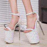 ราคา ฤดูร้อน 20 เซนติเมตรเซ็กซี่ส้นสูงรองเท้าผู้หญิงรองเท้าแตะรองเท้าส้นสูงผู้หญิงรองเท้าขนาด 34 43 สีขาว ใหม่