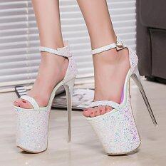 ขาย ฤดูร้อน 20 เซนติเมตรเซ็กซี่ส้นสูงรองเท้าผู้หญิงรองเท้าแตะรองเท้าส้นสูงผู้หญิงรองเท้าขนาด 34 43 สีขาว ออนไลน์ ใน จีน