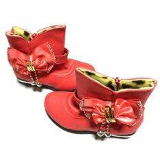 Sunsang Shoes รองเท้าบูทเด็กผู้หญิง มีซิป ตุ้งติ้ง สีแดง ใน Thailand
