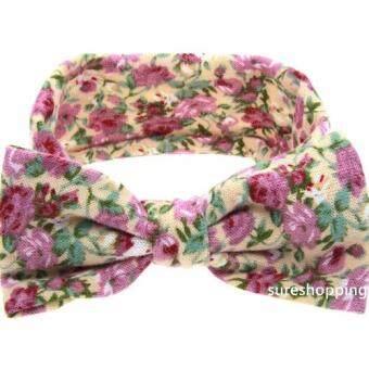 sureshopping ผ้าคาดผมเด็ก ที่คาดผมเด็ก ที่คาดผมดอกไม้ โบว์เด็ก ของใช้เด็กอ่อน ที่คาดผมโบว์ ลายดอกไม้สีชมพู
