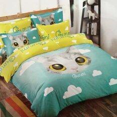 ขาย Sweet Kip ชุดผ้าปูที่นอน 6 ฟุต พร้อมผ้านวม 5 ชิ้น ลายกราฟฟิกหน้าแมว Sweet Kip เป็นต้นฉบับ