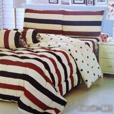 ทบทวน Sweet Kip ชุดผ้าปูที่นอน 6 ฟุต พร้อมผ้านวม 5 ชิ้น ลายทางแนวขวางครีมแดงกรมท่า Sweet Kip
