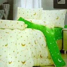 ราคา Sweet Kip ชุดผ้าปูที่นอน 6 ฟุต พร้อมผ้านวม 6 ชิ้น ลายพระจันทร์ สีครีม เขียว ราคาถูกที่สุด
