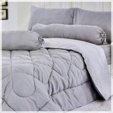 ซื้อ Sweet Kip ชุดผ้าปูที่นอน 6 ฟุต พร้อมผ้านวม 6 ชิ้น สีพื้น สีเทา ออนไลน์