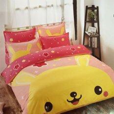 ส่วนลด สินค้า Sweet Kipชุดผ้าปูที่นอน6ฟุต พร้อมผ้านวม6ชิ้น ลายกราฟฟิกกระต่ายสีเหลือง