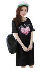 ราคา Teeneefashions เสื้อยืดแฟชั่นตัวยาว ทรงกระบอก แซก ผ้านุ่ม ลาย Heart สีดำ Teeneefashions ใหม่
