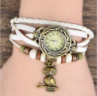 ThaiTrendy นาฬิกาข้อมือวินเทจ สายหนังถัก (สีขาว)