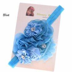 ราคา ที่คาดผมเด็ก ที่คาดผมเด็กเล็ก ที่คาดผมสีฟ้าประดับด้วยดอกกุหลาบดอกไม้เล็กดอกใหญ่