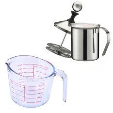 ซื้อ ถ้วยตวงแก้ว ขีดแดง ขนาด 500 มล โถปั๊มฟองนม 400 มล ใน ไทย