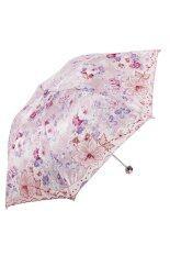 ราคา Tian Tang 3101E Style Flowers Pattern Three Folding Embroidery Umbrella Anti Uv Sun Rain Umbrella Pink Best ใหม่