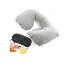 Tmall Inflatable Neck Rest Cushion U Pillow + Eye Mask + Ear Plug (grey).