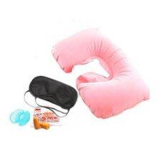 Tmall Inflatable Neck Rest Cushion U Pillow + Eye Mask + Ear Plug (pink).