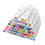Touchnew 60Pcs Color Marker Pen Set Alcohol Twin Tip Broad Fine Point For Art Sketch Graphic White Body ถูก
