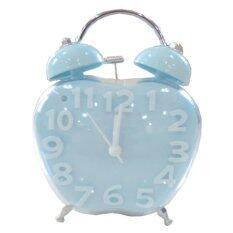 Triple3shop นาฬิกาปลุกตั้งโต๊ะรูปแอปเปิ้ล-สีฟ้า.