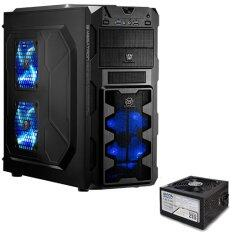Tsunami Megatron X2 Series USB 3.0 Gaming Case (with 3 x LED Fan) BLACK&BLUE+ Seed S12-400W Power Supply ATX