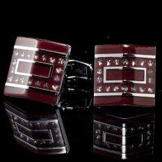 ขาย Twilight Cuff Links หลังคาสี่เหลี่ยมแดง ขอบเงินเพชรเล็ก รุ่น I1101 Silver ราคาถูกที่สุด