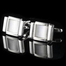 Twilight Cuff Links พลอยขาว สี่เหลี่ยมเงินล้อม รุ่น I901 Silver เป็นต้นฉบับ