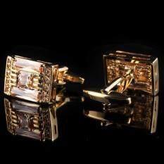 ส่วนลด สินค้า Twilight Cuff Links สี่เหลี่ยมทองประดับพลอยส้ม รุ่น I1201 Silver