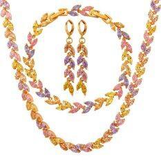 ขาย ซื้อ U7 Multi Color Cubic Zirconia Necklace Earrings Bracelet Set 18K Real Gold Plated Fashion Jewelry Set Gold จีน