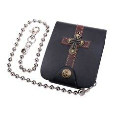 ขาย U7 Punk Cross Men Leather Wallet Cool Skeleton Cards Holder Anti Thief Purse Black U7 เป็นต้นฉบับ