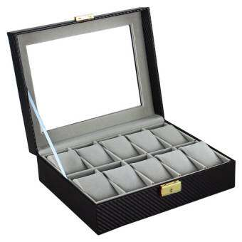 Vintage กล่องใส่นาฬิกา Leather Watch Box สำหรับ 10 เรือน ลายคาร์บอน (สีดำ/เทา)