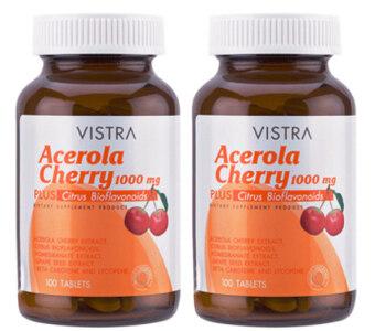VISTRA Acerola Cherry 1000 mg 100เม็ด วิสทร้า อะเซโรลาเชอร์รี่1000มก. (2 ขวด)