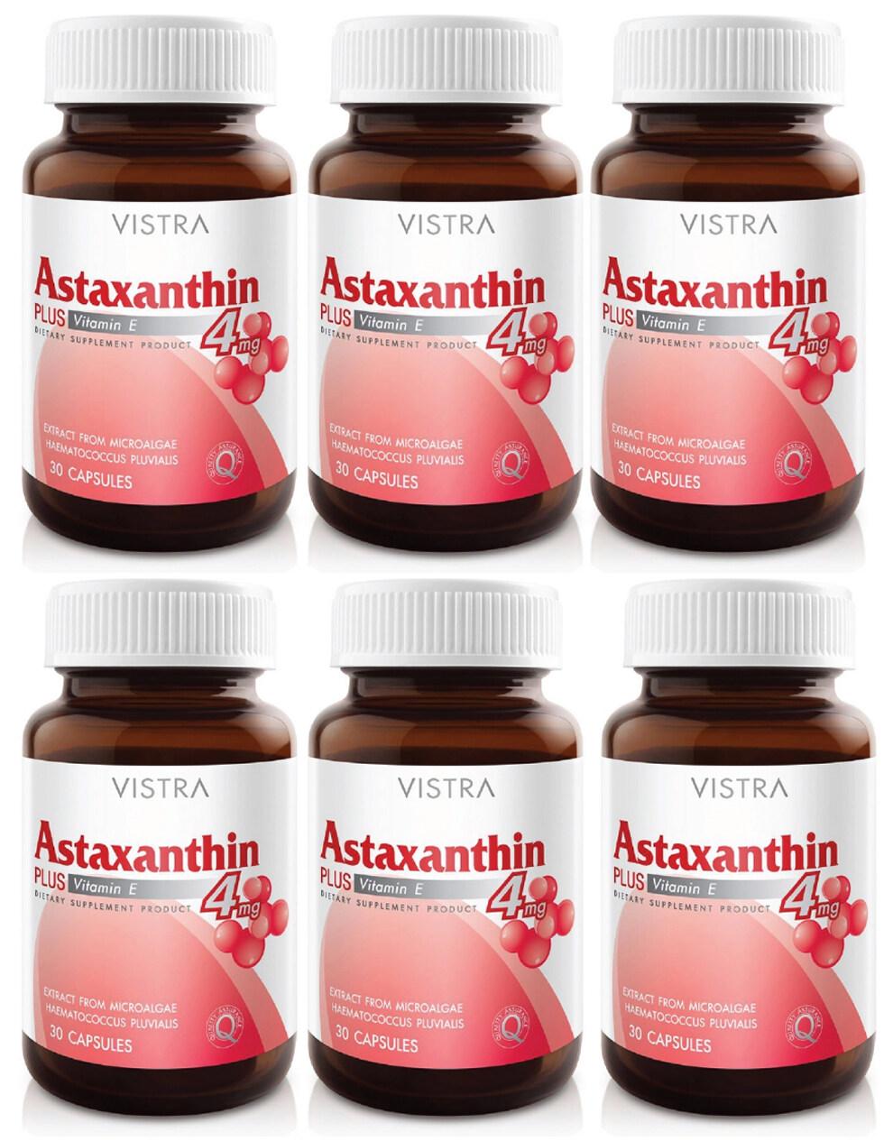 VISTRA Astaxanthin 4 mg Plus Vitamin E วิสทร้า แอสตาแซนธิน 4 มก. พลัส วิตามินอี (30 แคปซูล) x 6 ขวด