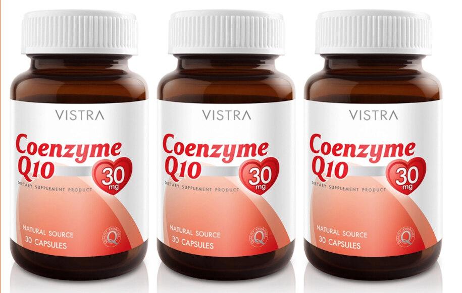 VISTRA Coenzyme Q10 Natural Source 30 เม็ด วิสทร้า โคเอ็นไซต์ คิว10 ลดริ้วรอยก่อนวัย ชะลอความเสื่อมของผิว x (3 ขวด)