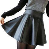ซื้อ Viviswill Korean Fashion High Waist Flared Pleated Short Mini Skirt Black