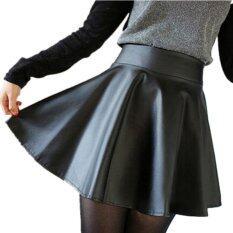 ราคา Viviswill Korean Fashion High Waist Flared Pleated Short Mini Skirt Black ใหม่ ถูก