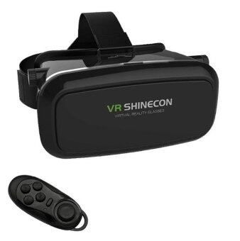 VR SHINECON Virtual Reality 3D Glasses VR BOXOculus Rift Head Mount 3D Movies Games For 3.5-6.0 inch PhoneAndroid XT-VRS01R INCLUDING BLUETOOTH REMOTE